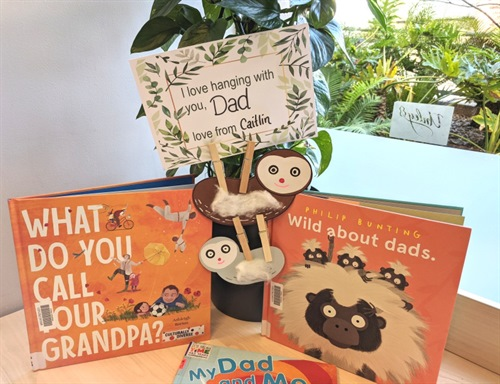 Fathers Day books with storytime sloth craft