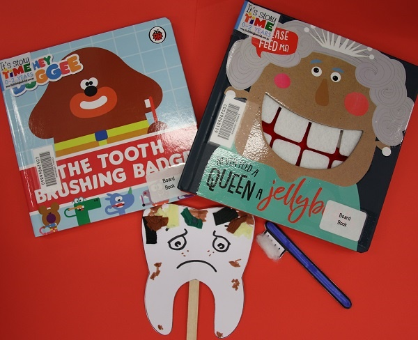 image of books about teeth and tooth themed craft