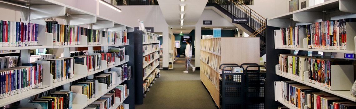 Collections of books in Unley Civic Library